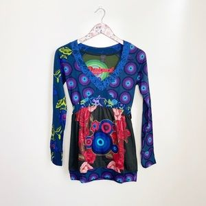 DESIGUAL Long Sleeve Floral V Embroidered Top! S